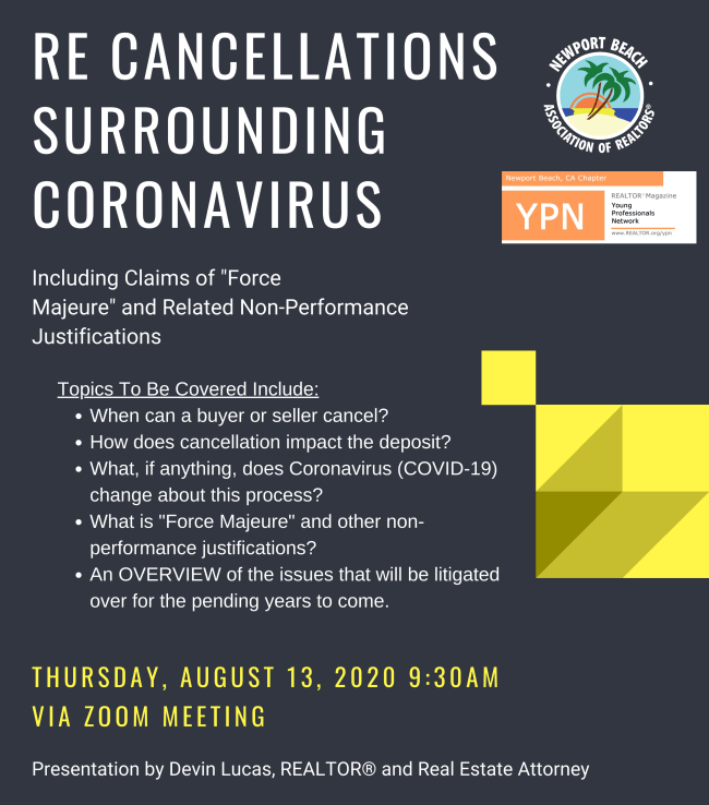 Devin Lucas to Present on Real Estate Cancelations Surrounding Coronavirus